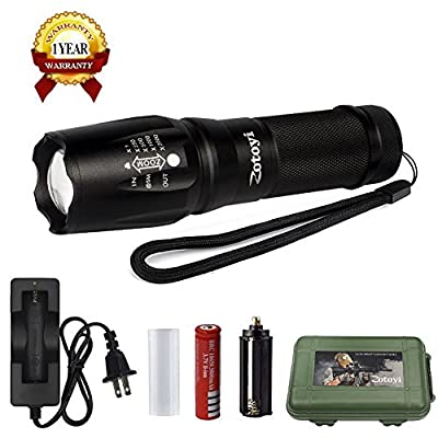High Power Led Flashlight, ZOTOYI Handheld Flashlight, Water Resistant Tactical Flashlight Torch, Zoom Function & 5 Modes with 18650 battery & chargeable