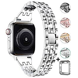 Compatible with Apple Watch Band with Case 38mm 40mm 42mm 44mm for Women, CTYBB Rhinestone Metal Jew