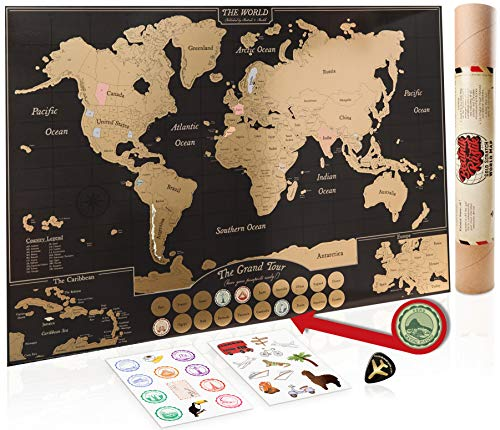 Scratch Off Map of the World Poster - US States / Canada Provinces.  A Travel Journal for your Wall.  Scrapbooking Supplies, Bucket List, for Home or Office.  Nautical Travel Decor by Beatnik & Rustic