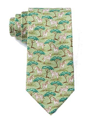 Safari Tie - Men's Safari Zebras Animal Novelty Tie Necktie (Celadon Green)