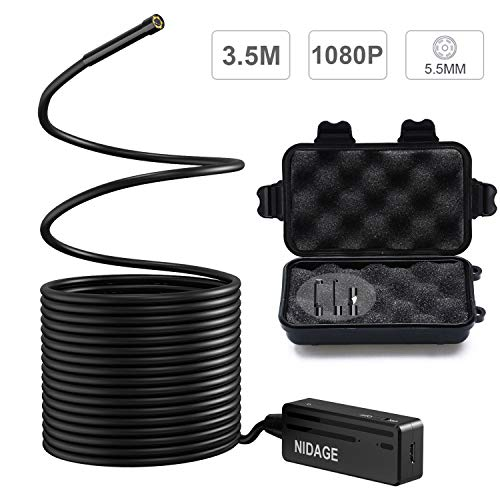(Wireless Endoscope, NIDAGE 5.5mm 2MP WiFi Borescope 1080P HD Semi-Rigid Snake Camera for iPhone Android, Tablet, Motor Engine Sewer Pipe Vehicle Inspection Camera with Carry Box(11.5FT))