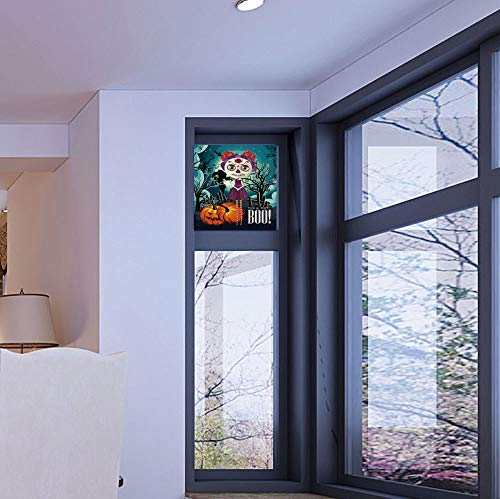The Visual Effect of Textured Glass and Stained Glass,Halloween,is Good for Long Year Under The Sunshine,Cartoon Girl with Sugar Skull Makeup Retro Seasonal,17''x24'' ()