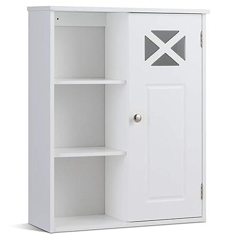 COSTWAY Hängeschrank aus Holz, Badezimmerschrank hängend, Wandschrank weiß,  Badschrank mit verstellbarem Einlegeboden, Badezimmer Schrank 1 türig, ...