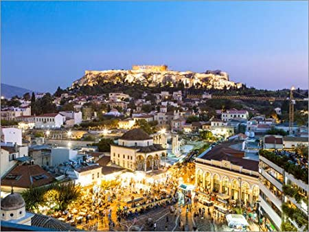 Posterlounge Acrylic print 40 x 30 cm Acropolis and Monastiraki Square Athens by Matteo Colombo