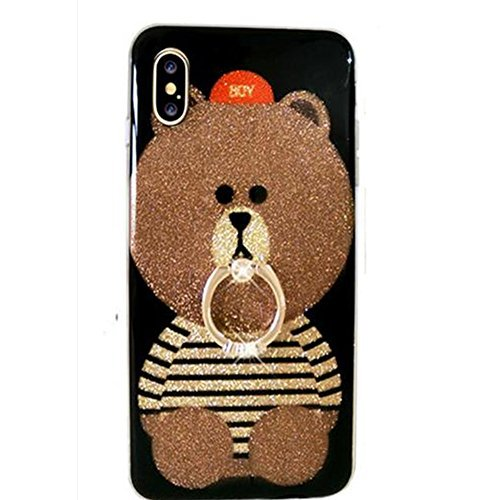 iPhone X 5.8 Case Bling Diamond,Auroralove iPhone X Case Cute Bear Luxury Soft TPU iPhone X Case with Ring Stand for Girls Women(Red)