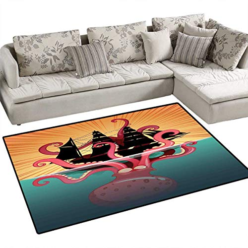(Kraken Bath Mat 3D Digital Printing Mat Coral Sea Monster Sinking The Boat Retro Myths Ocean Folk Stories Inspired Artwork Door Mat Increase 3'x5' Multicolor)