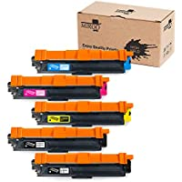 MIROO 5-Pack Compatible Toner Cartridge Replacement Brother TN221 TN-221 TN225 TN-225 High Yield, Use on Brother HL-3140CW HL-3170CDW HL-3180CDW MFC-9130CW MFC-9330CDW MFC-9340CDW Laser Printer
