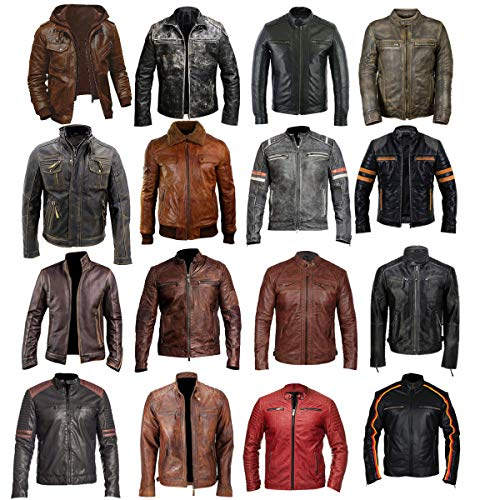 Mens Vintage Cafe Racer Distressed Brown Biker Leather - Vinyl Biker Jacket