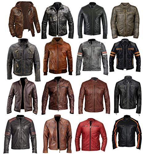 Mens Vintage Biker Multi Pockets Cafe Racer Antique Retro Distressed Brown Motorcycle Leather Jacket ()