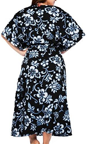 LA LEELA Frauen Damen Rayon Kaftan Tunika Gedruckt Kimono freie Größe Lange Maxi Party Kleid für Loungewear Urlaub Nachtwäsche Strand jeden Tag Kleider I