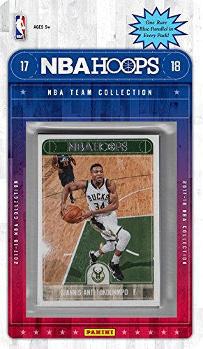 fan products of Milwaukee Bucks 2017 2018 Hoops Basketball Factory Sealed 9 Card Team Set with Giannis Anetokounmpo and Rookie cards of DJ Wilson and Sterling Brown plus