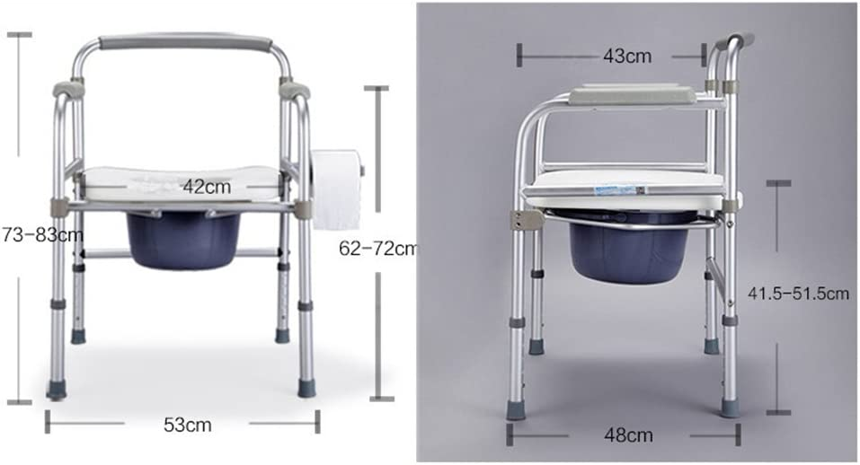 CHAONAO Elderly Commode Seat Aluminum Folding Movable Toilet Safety Frame for Seniors Handicap Bariatric Shower Chair