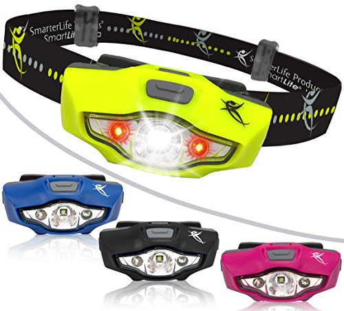 Headlamp by SmarterLife | Super Bright & Light Headlamps | CREE LED with 6 Light Modes | Water Resistant Headlight for Camping, Running, Hiking, Hunting, Emergency | Battery, eBook (Neon Green)