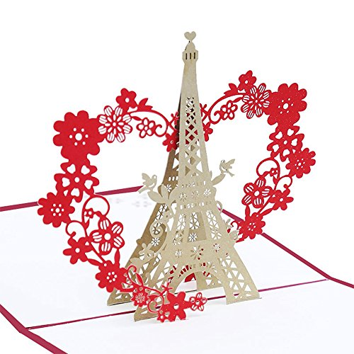 Echeer Paper Eiffel Tower Pop Up Birthday Greeting Cards Wedding Congratulations 3D Handmade Anniversary