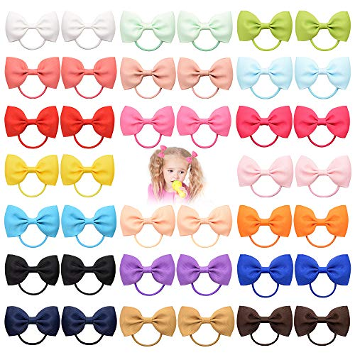 """40 Pieces 2.75"""" Baby Girls Hair Bows Tie Grosgrain Ribbon Bows Rubber Band Ribbon Hair bands For Girl Teens Kids Babies Toddlers (20 Pair 023)"""