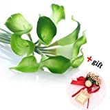 Crazycity New Lovely Artificial Calla Lily Wedding Bouquet Latex Real Touch Flower Bouquets (20pcs Green)