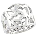 Sterling Silver Cigar Band Ring for Women Cutout Hearts Flawless Polished Finish 5/8 inch sizes 6 - 10