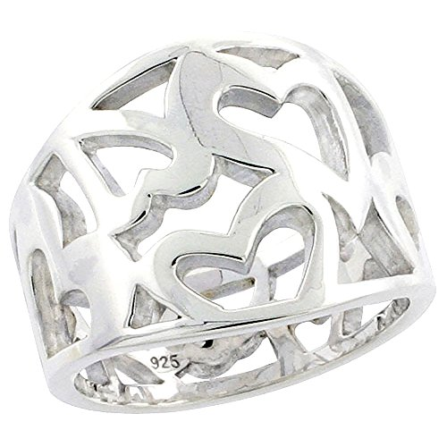 (Sterling Silver Cigar Band Ring for Women Cutout Hearts Flawless Polished Finish 5/8 inch size 9)