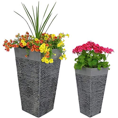 Sunnydaze High-Rise Fiber Clay Modern Square Planter Flower Pot, Durable Indoor/Outdoor 20-Inch and 26-Inch 2-Piece ()