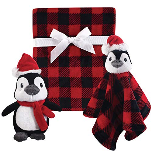 Hudson Baby Plush Blanket and Plush Toy and Security Blanket Set, Holiday Penguin ()