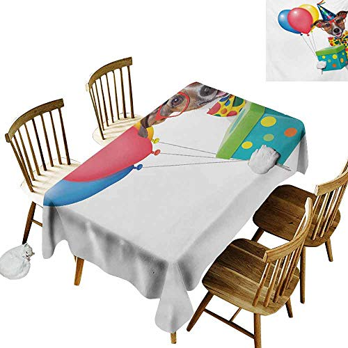 (Mannwarehouse Kids Birthday Restaurant Tablecloth Colorful Balloons Boxes and Dots Print Dog Animal Puppy with Party Cone Print Picnic W60 x L102 Multicolor)
