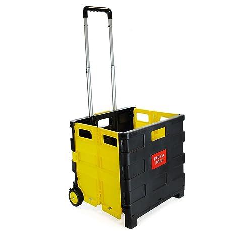 Carrito de la compra plegable de plástico – ligero carrito de libros para profesor – Caja