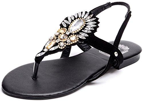 ODEMA Women Summer Bohemian Rhinesone Beaded Ankle Strap Thong Gladiator Sandals Black lBPuNs4h6
