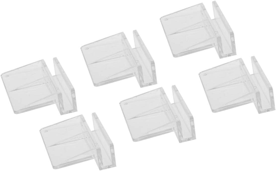 TEHAUX 6pcs Fish Tank Aquarium Glass Cover Clip Support Holder Acrylic Anti-Slip Aquarium Accessories Universal Lid Clips 6mm