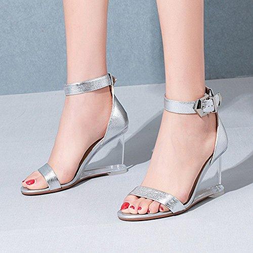cuoio sandali e testa quadrata sandali crystal puro 37 NHGY fibbie pendii qUAx1X1