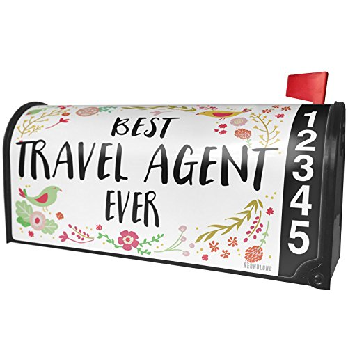 NEONBLOND Happy Floral Border Travel Agent Magnetic Mailbox Cover Custom Numbers by NEONBLOND