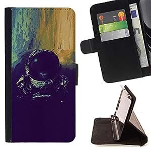 BullDog Case - FOR/Apple Iphone 4 / 4S / - / devushka kosmos shlem /- Monedero de cuero de la PU Llevar cubierta de la caja con el ID Credit Card Slots Flip funda de cuer