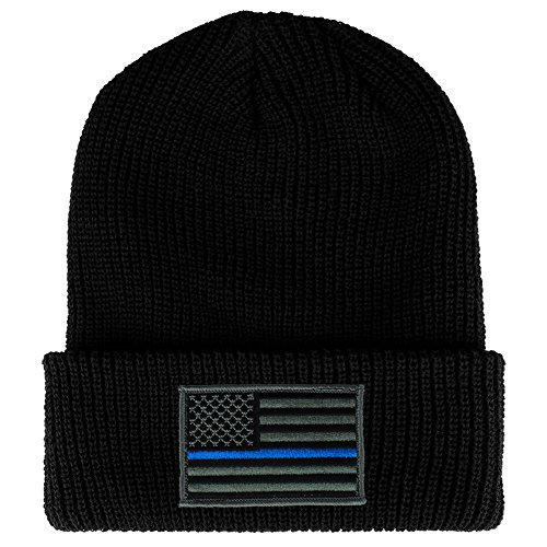 (Thin BLUE Line American Flag Embroidered Patch Ribbed Cuffed Knit Beanie - BLACK)