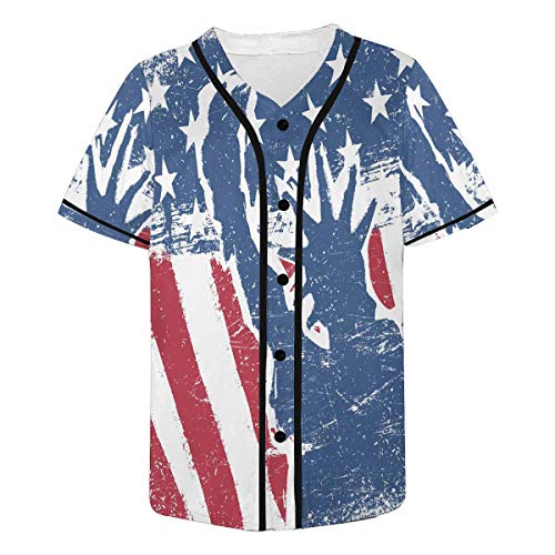 INTERESTPRINT Cute Panda Baseball Jersey Short Sleeve Print Tees for Men XL