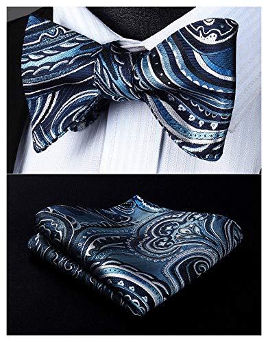 (BIYINI Men's Paisley Floral Jacquard Woven Party Self Bow Tie Set Navy Blue / Gray)