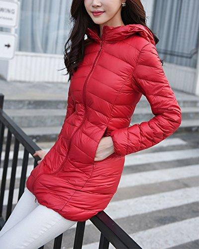Invierno Mujer para ZhuiKun Capucha Chaqueta con de Largas Plumas Parka Rosso Abrigo qXvr1q