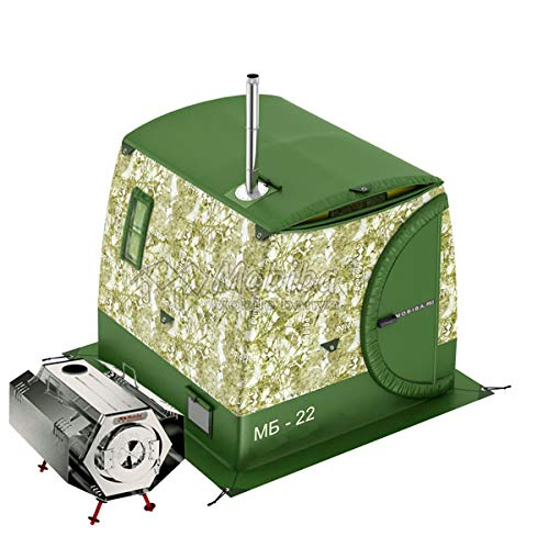 Mobiba Portable All-Season Double-Layered Expedition Tent MB-22М (Accommodation 1-2 pers.) + Portable Compact Heater-Stove Prolonged Woodburning Sogra-3'