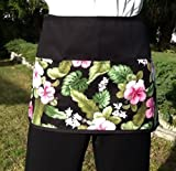Waitress or Server 3 Pocket Half Apron, Check out 300 more aprons @ (handmade Janet Apron) restaurant cooking kitchen cute Tropical Flowers waist design black