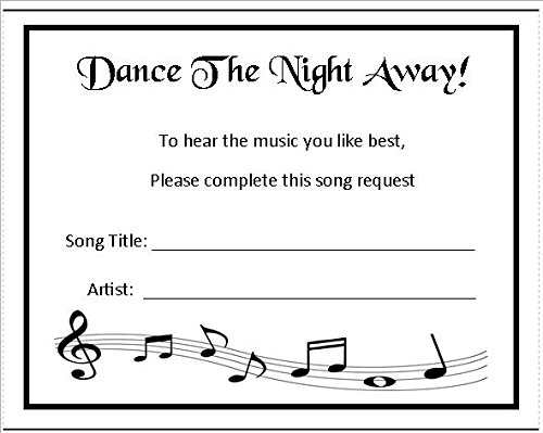 24 Wedding Music Song Request Cards Score With Border Design