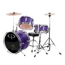 GP Percussion GP50MPR Complete Junior Drum Set, Purple, 3-Piece Set