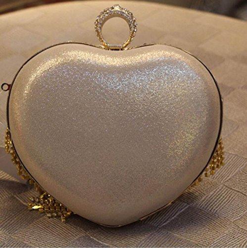 GSHGA Bolso De Embrague Con Estilo En Forma De Corazón Diamante-tachonado Borla Tarde Bolso Nupcial Del Bolso