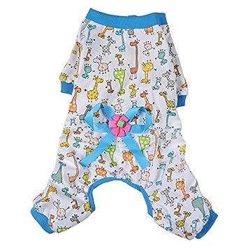 Doggie Style Store azul jirafa perro de mascota gato pijama Impreso dibujos animados pijama Onesie traje