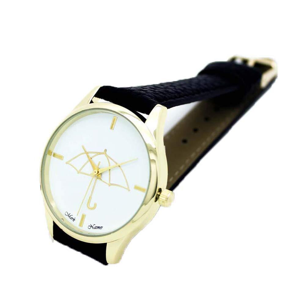 Amazon.com: Womans Watch,Cute Umbrella Style Bracelet Analog Quartz Dial Wristwatch Leather Band Clock Axchongery (Black): Clothing