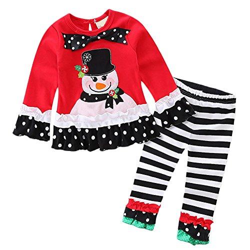 Baby Girls Toddler 2 Pieces Christmas Set Long Sleeve Snowman Santa Top T-Shirt Dress Ruffle Leggings Pants Outfit Costume Red Snowman+Black Striped Set ()
