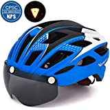 VICTGOAL Bike Helmet for Men Women with Safety Led Back Light Detachable Magnetic Goggles Visor Mountain & Road Bicycle Helmets Adjustable Adult Cycling Helmets