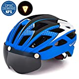 VICTGOAL Bike Helmet for Men Women with Safety Led Back Light Detachable Magnetic Goggles Visor Mountain & Road Bicycle Helmets Adjustable Adult Cycling Helmets (New Blue)