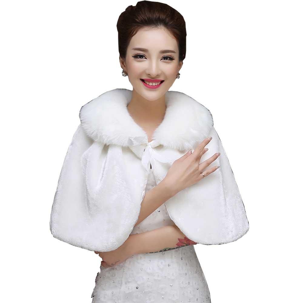 WDING Bridal Warm Fur Shawl White Wedding Bolero Wrap Cape Stole Women Coat White One Size