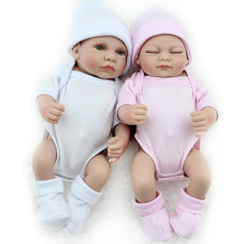Kaydora 10inch Full Silicone Reborn Baby Boy and Girl Twins Washable Handmade Lifelike Dolls Looking Body Wrinkles – White and Pink Set