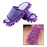 OFKP 1 Pair Microfiber Mop Cleaning House Slippers House Floor Polishing Dusting Cleaning Slippers Mop Slipper (Purple)
