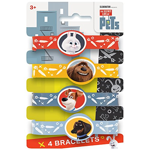 The Secret Life of Pets Silicone Wristband Party Favors, 4ct