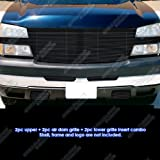 2003 silverado black emblem - Fits 2005-2006 Chevy Silverado 2500/3500 Full Face Black Billet Grille Grill Combo #C81223H